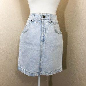 Vintage Guess High Waisted Acid Wash Denim Skirt